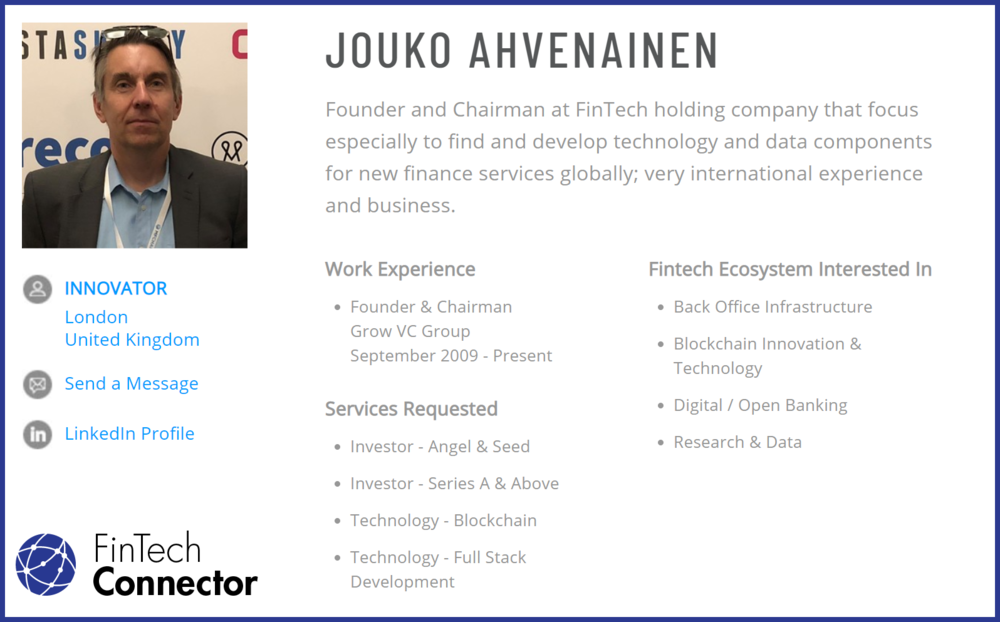 Connect with Jouko Ahvenainen via FinTech Connector -  https://members.fintechconnector.com/user/sign_up