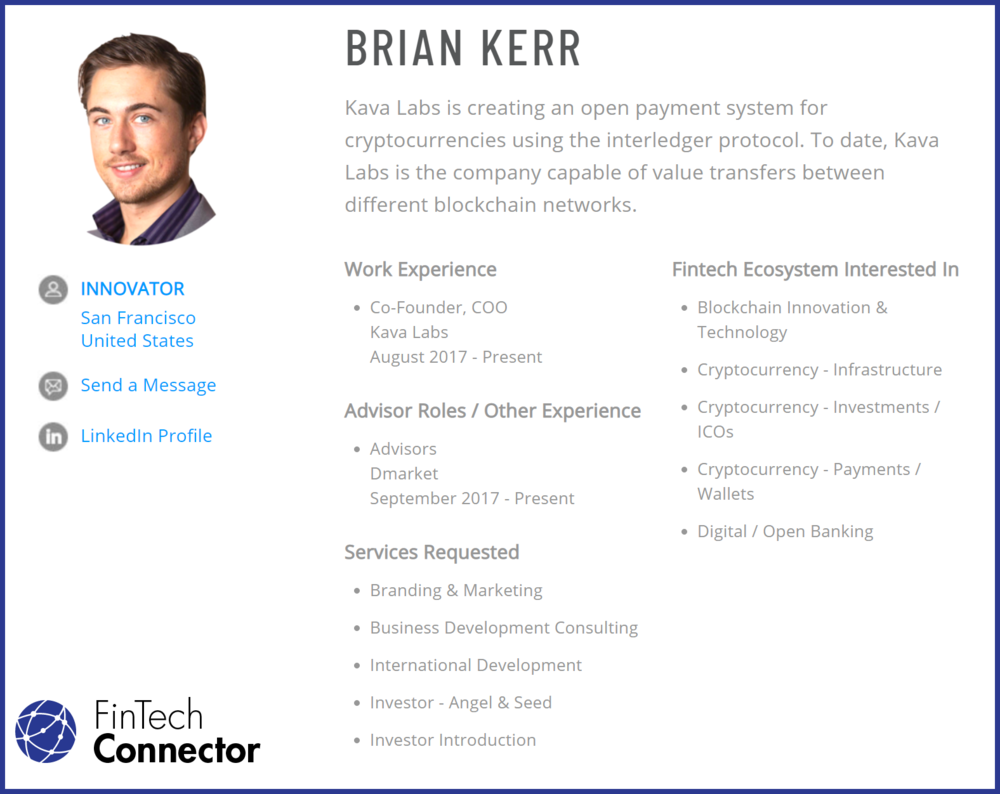Connect with Brian Kerr via FinTech Connector -  https://members.fintechconnector.com/user/sign_up
