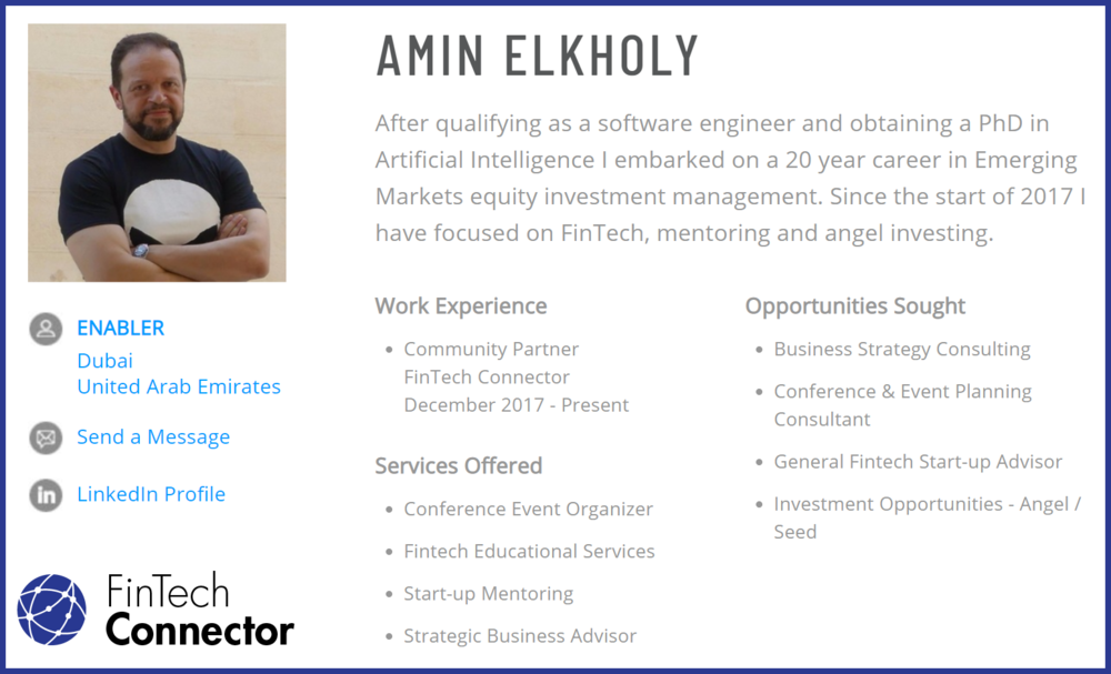 Connect with Amin Elkholy   - FinTech Connector Community Partner - Dubai