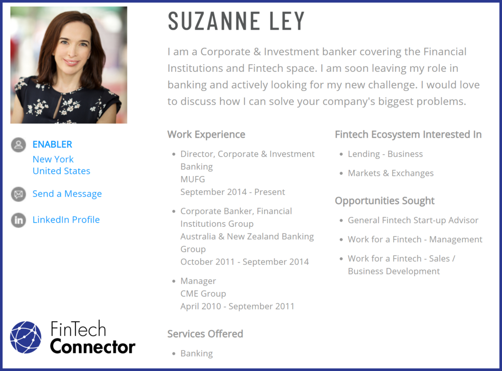 Connect with Suzanne Ley via FinTech Connector