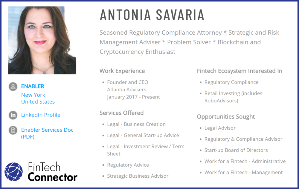Connect with Antonia Savaria via FinTech Connector
