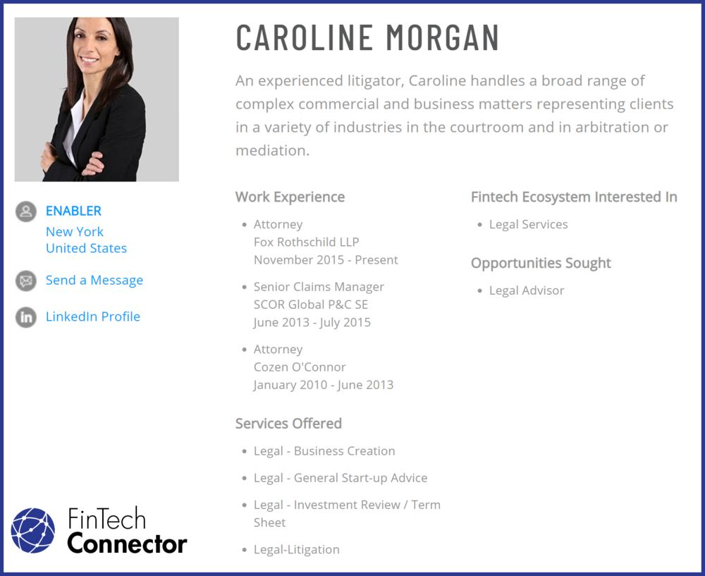 Connect with Caroline Morgan via FinTech Connector
