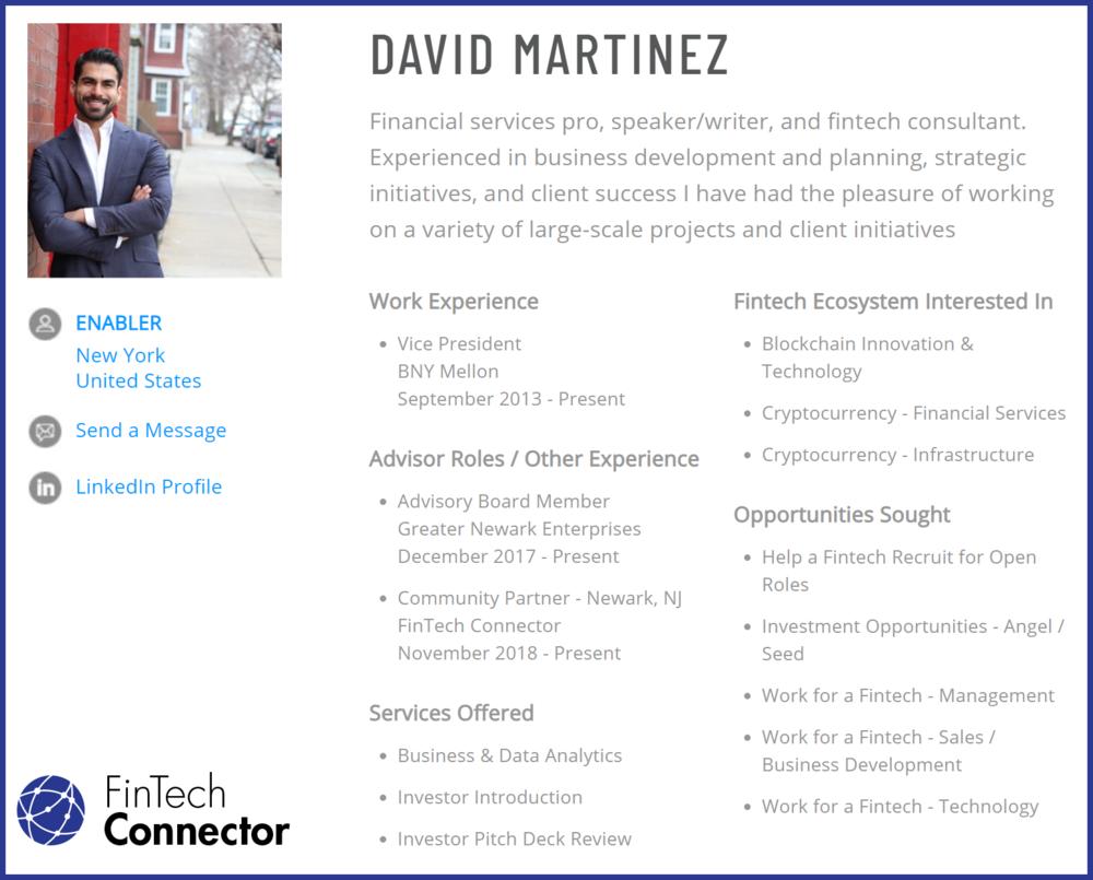 Connect with David Martinez via FinTech Connector