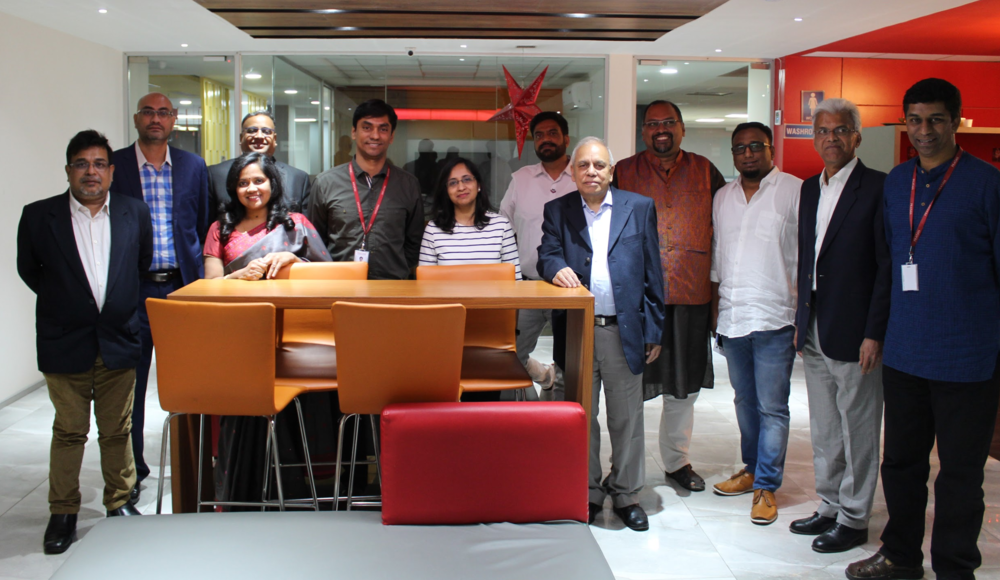 Prakat leadership and FinTech Connector Community Partners -  Anu Biswas ,  Abhik Biswas , and Krish Srikant with the round table participants in Bangalore.