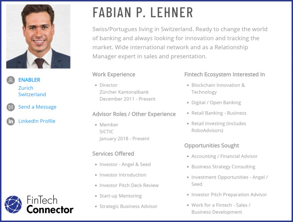 Connect with Fabian Lehner via FinTech Connector