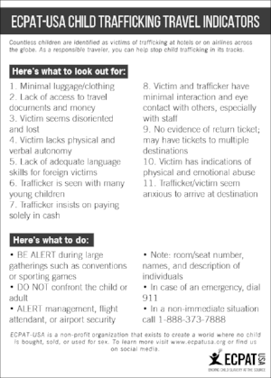 Download our child trafficking travel indicators card.