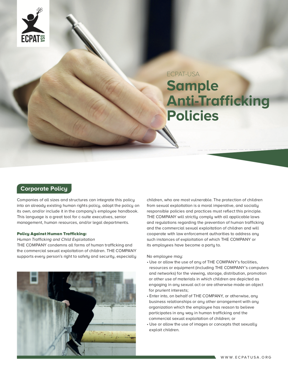 Corporate Anti-Trafficking Policy, RFP Language, and Contract language