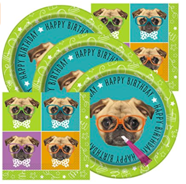 Pug Birthday Theme Napkins and Plates
