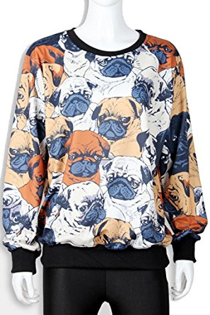 Pullover Full Print Funny Pug Sweater