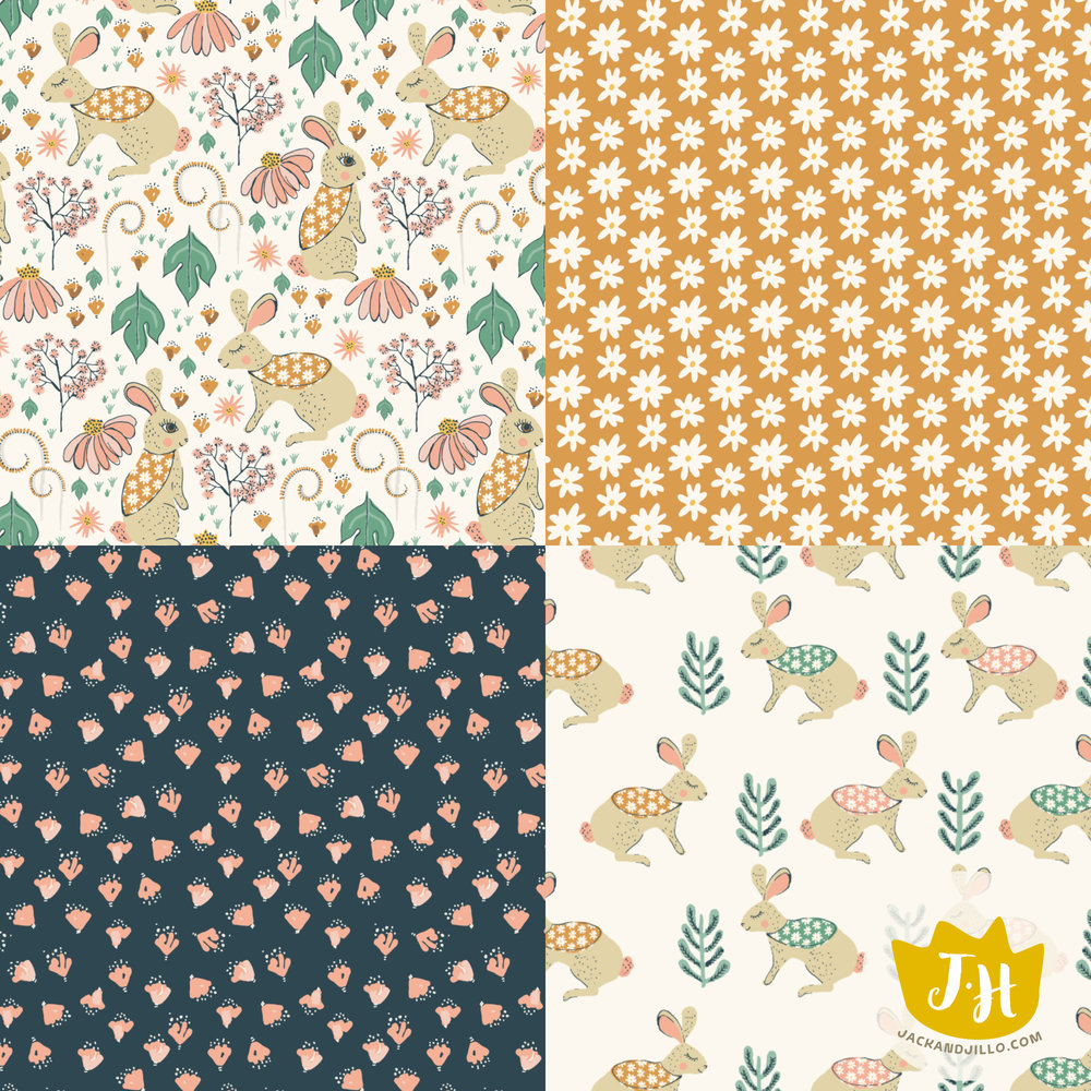 Woodland Bunnies. Available for purchase as fabric, wallpaper and giftwrap in Jackie's Spoonflower shop.