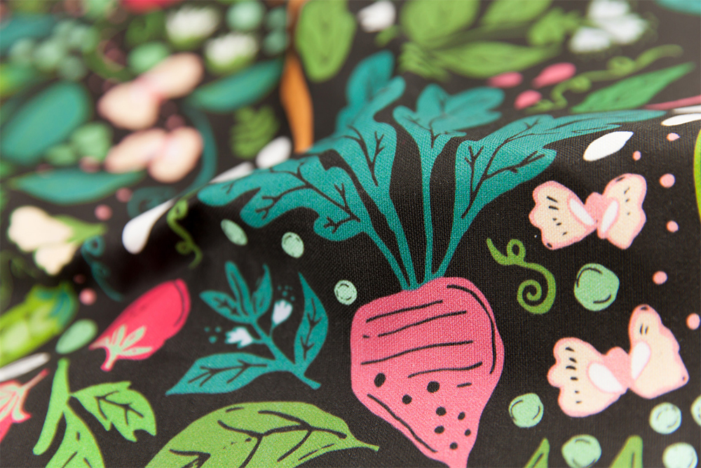 A close up of Jackie's winning design for Spoonflower's Farm to Tea Towel competition.