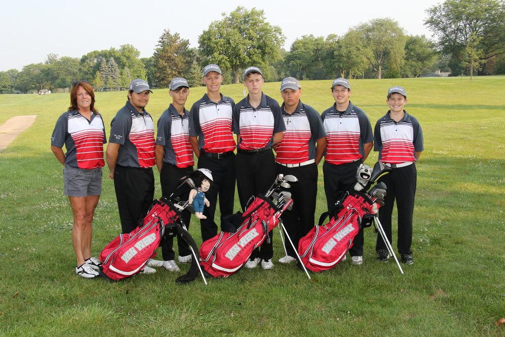 Left to Right: Coach Doidge, Austin Bissonette, Gavin Flickinger, Evan Knittle, Ian Rex, Cameron Terhark, Zane Fast, Jace Fast