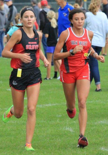 Van Wert's Caylee Phillips (right) won the Delphos St. John's Invitational on Saturday.  Photo submitted