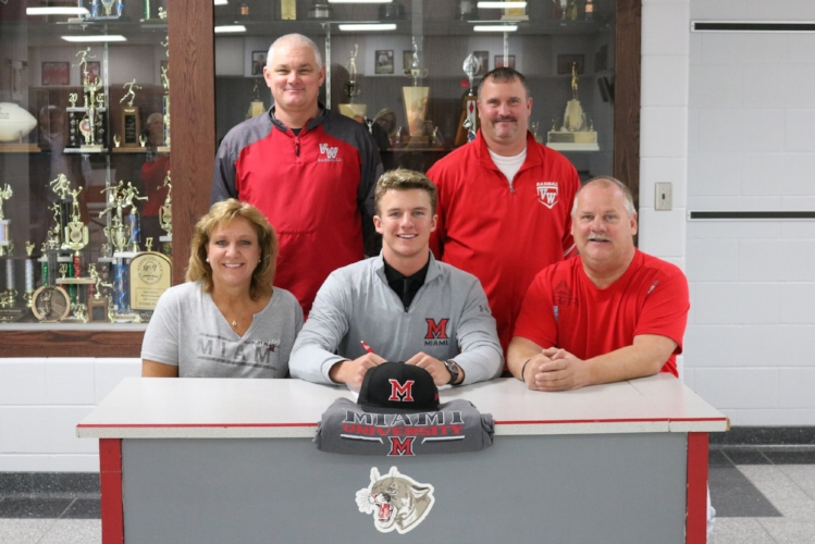 With continued support from his parents (Shari and Greg Blackmore) and his coaches (Jeremy Kitson and Charlie Witten), Lawson Blackmore signs his letter of intent to continue his academic and baseball career at Miami (OH) University.