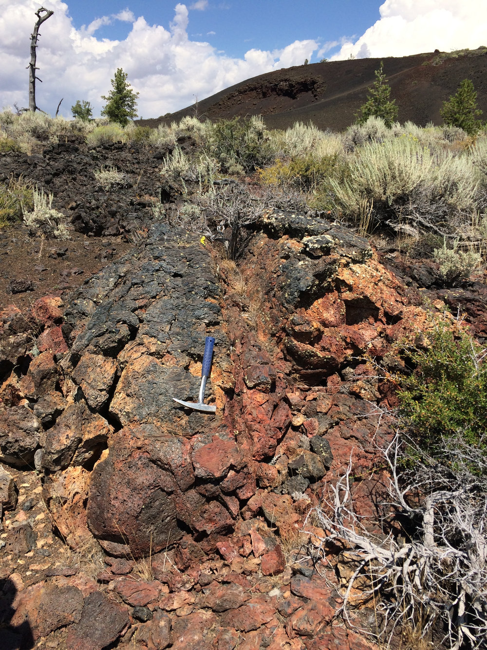 Altered basalt lobe, Craters of the Moon National Monument, Idaho