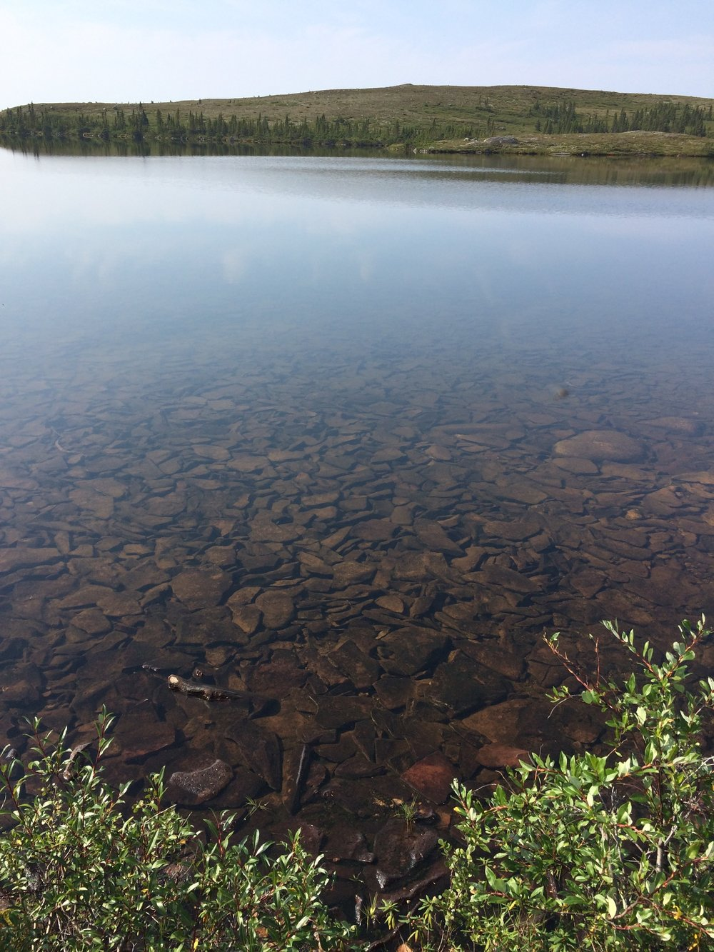 Clear ponds on Lac a l'eau claire islands