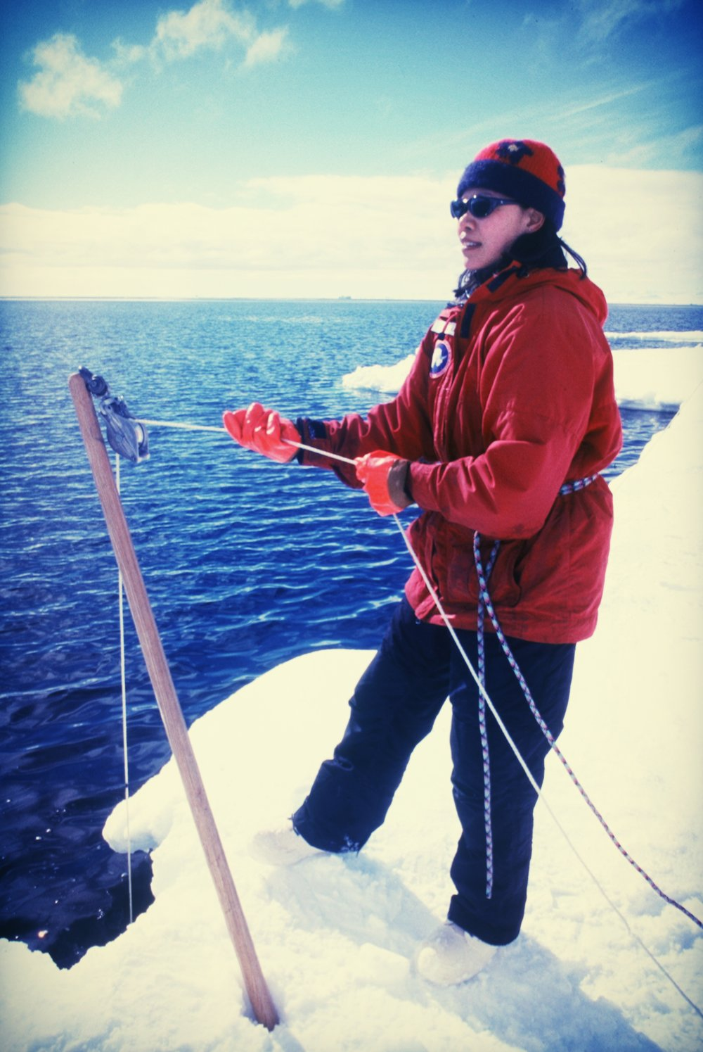 Collecting water from the sea ice edge - Ross Island, Antarctic 2001