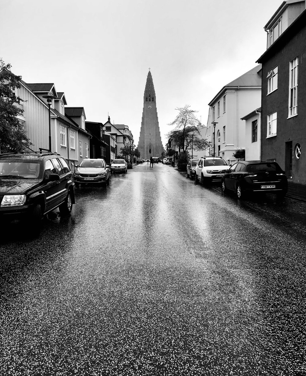 Rainy May day in lovely Reykjavik, Iceland