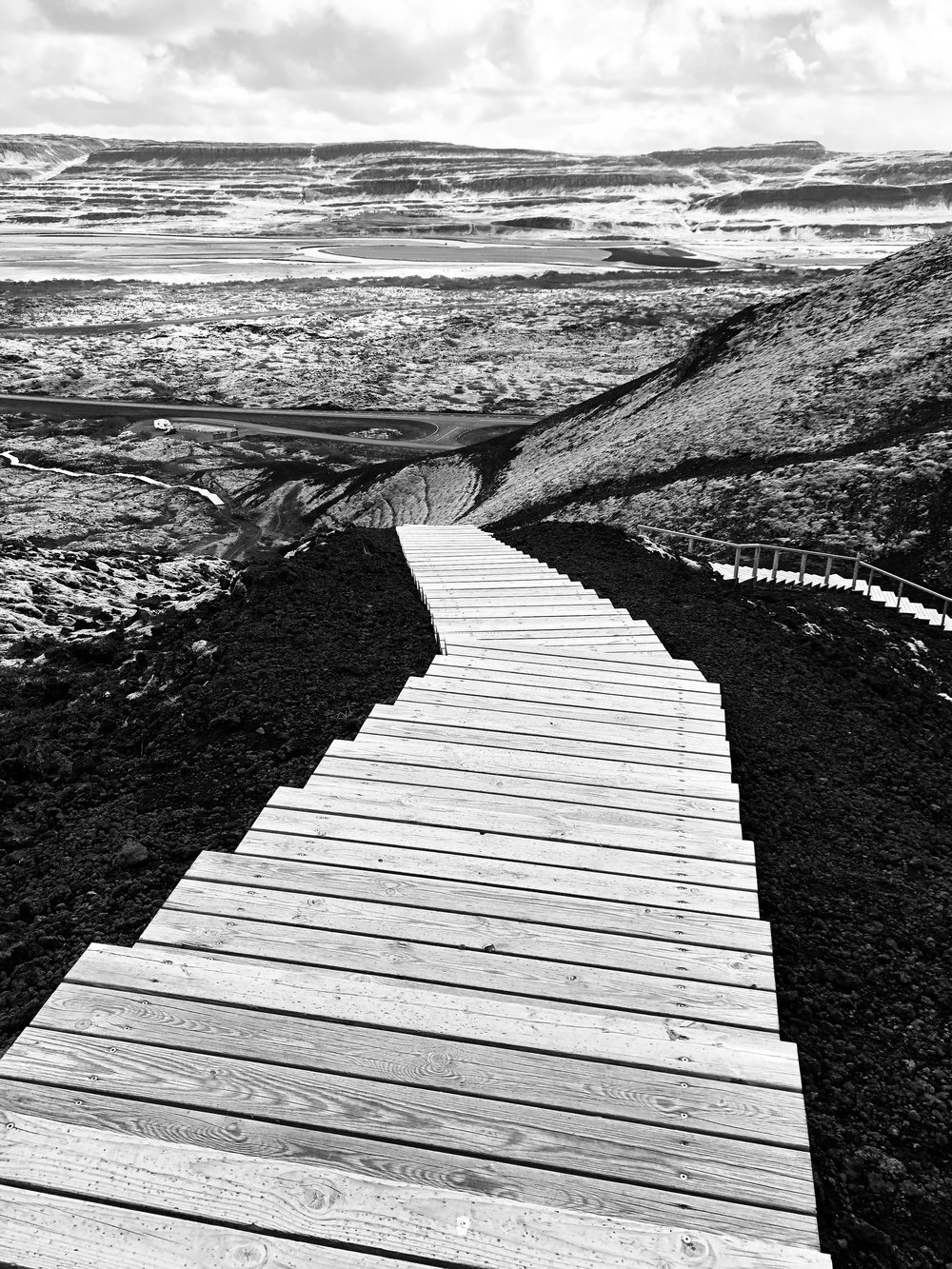 Stairway through cindercone, northern Iceland