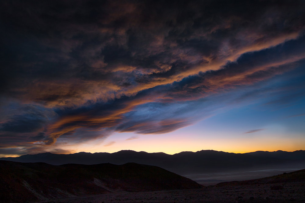 Death Valley sunset from Artist's Drive. Changing weather is always a welcome subject to any photography workshop.