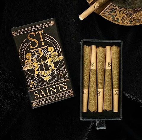 Saints joints - Pairing luxury design with premium Flower in beautiful and discreet packaging.  100% Flower JointsHigh qualityWashington Clean Green CertifiedSeattle Green Bud Product