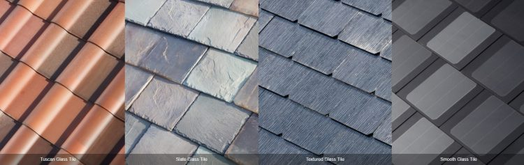 Figure 2. The four different type of Telsa solar shingles