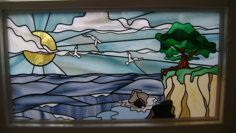 Stained Glass Overlay Ocean and Cliffs