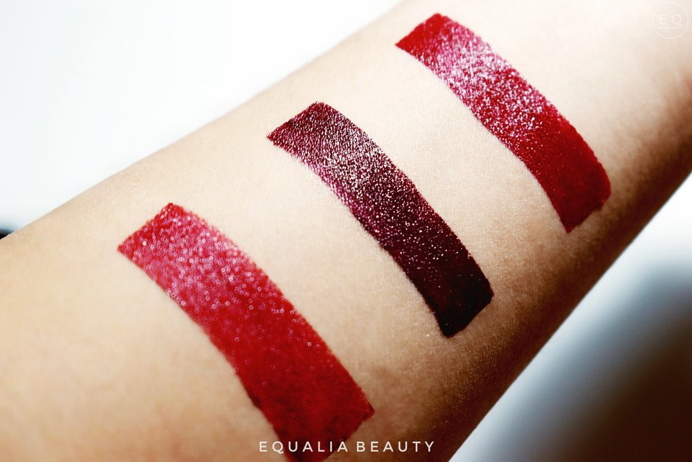 Swatches - (Left to right)1.RUBINO 175 (Red - Limited Edition)2.AMETHYST 330 (Mauve)3.ULTRA 190  (Red)
