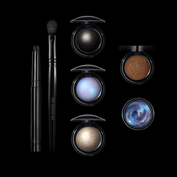 < Contents: - Black SmudgeLiner eye kohlBlender brushDark Matter pigmentAstral White pigment Mercury pigmentUltraSuede Brown pigmentCyber Clear eye glossPhoto: Courtesy of Pat McGrath LABS