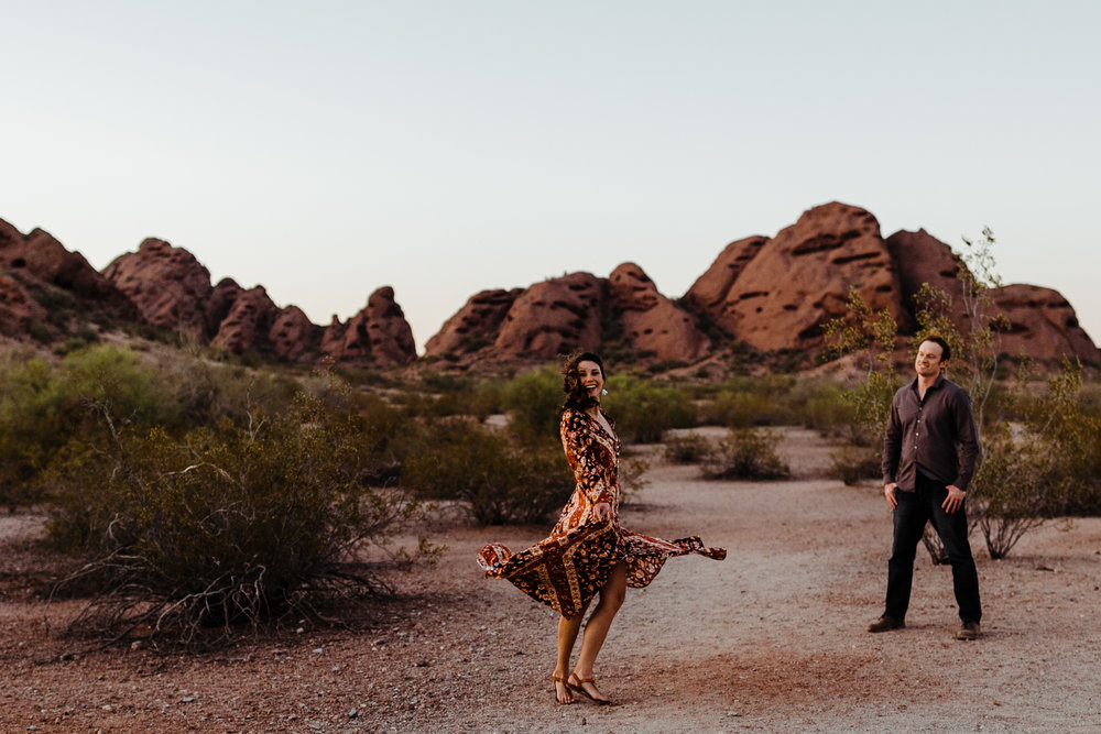 Kara Leigh Creative is an adventurous wedding, elopement and lifestyle photographer based in Charleston, West Virginia, but serving the Shenandoah Valley and beyond. In this shoot, Kara met up with Brett and Arielle, a couple living in Phoenix, Arizona, to hike around Papago Park and explore the Desert Botanical Gardens.