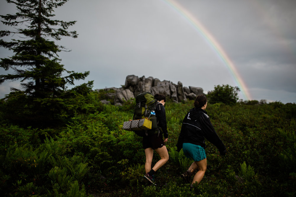Hiking in Dolly Sods West Virginia, West Virginia adventure photographer, Dolly Sods adventures, rainy day adventures, rainy hike. Rainbow in Dolly Sods, WV