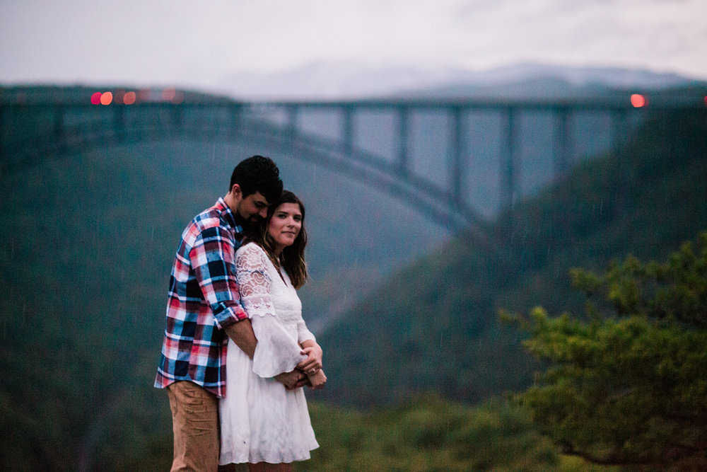 A rainy, adventurous engagement session in the New River Gorge, WV. We started out in Glade Creek with some river and swimming hole shots and then went up to Long Point for a few very quick shots before the storm hit. Interested in your own New River Gorge adventure session? Get in touch!