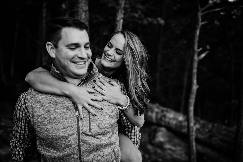 A fall New River Gorge Adventure Engagement Session on Endless Wall Trail. I can't wait to shoot these two's West Virginia wedding in downtown Charleston next year!