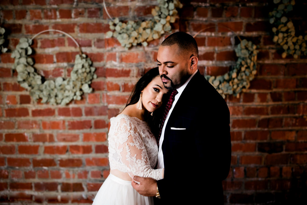 This urban Charleston, West Virginia, styled wedding shoot had all of the moody winter wedding vibes.