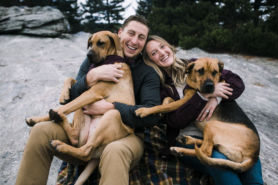 """- """"Kara was incredibly flexible & easy to work with! She provided an extensive list of recommended locations and they ended up being the perfect mountain views. She made us laugh & dealt with our crazy pups like a seasoned pro. We couldn't be happier with our photographs and will be sharing them far & wide. Highly recommend!"""""""
