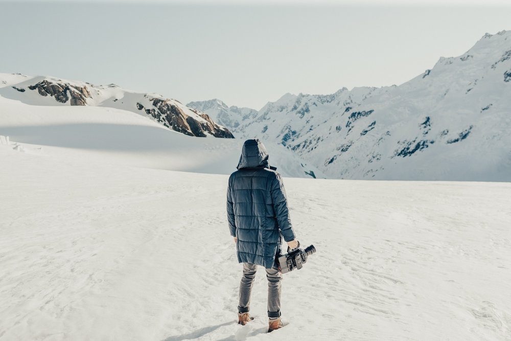 Aiden in Mt Cook, New Zealand. Filming for Inflite Helicopter tours