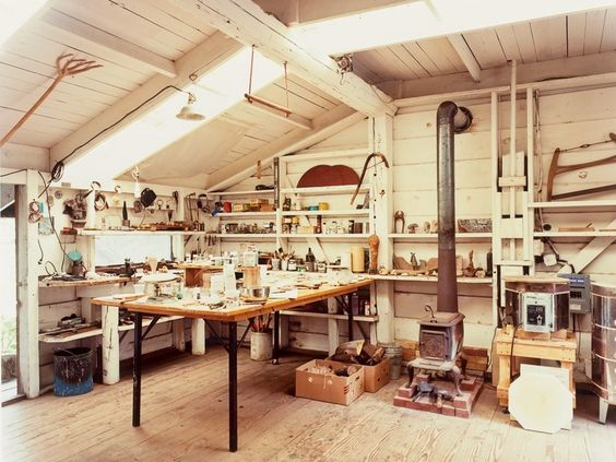 Blunk's whitewashed workshop