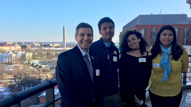 (L-R): Youthbuild USA CEO John Valverde, current YouthBuild PCS student Levi Moorman, YouthBuild PCS 2017 Graduate Heaven Rice, YouthBuild PCS 2016 Graduate Yolanda Torres