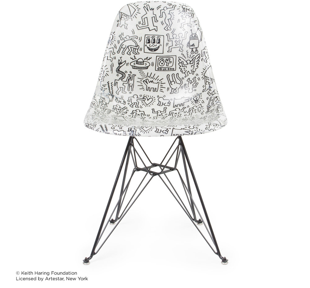 Keith Haring Case Study® Side Shell Eiffel Chair   Faces