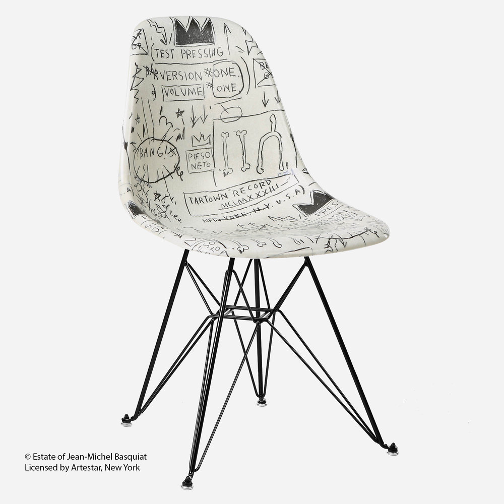 Jean Michel Basquiat Case Study® Side Shell Eiffel Chair   Record. Black  And White ...