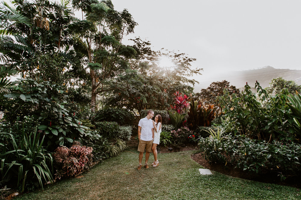 Sweet garden engagement in Trinidad