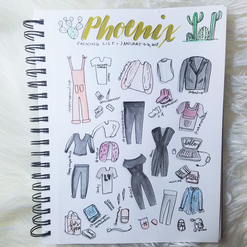 Phoenix Trip Packing list - illustration by Heidi Nielson of Desert 2 District Design
