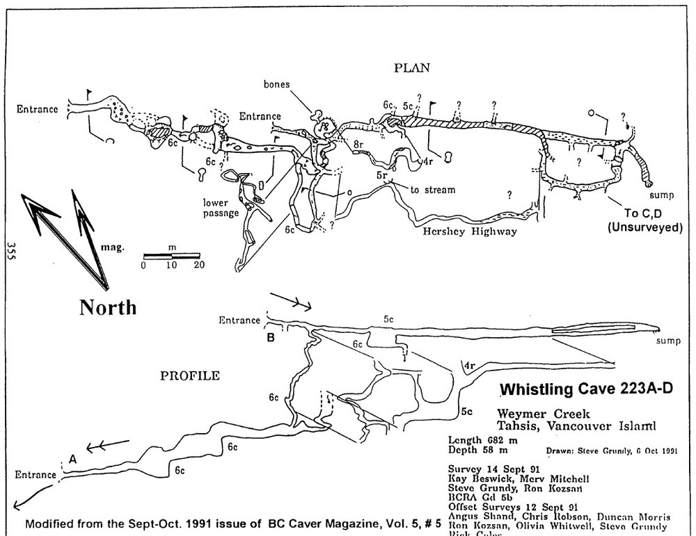 The original Whistling Cave map, published in the Canadian Caver, no data still existed.