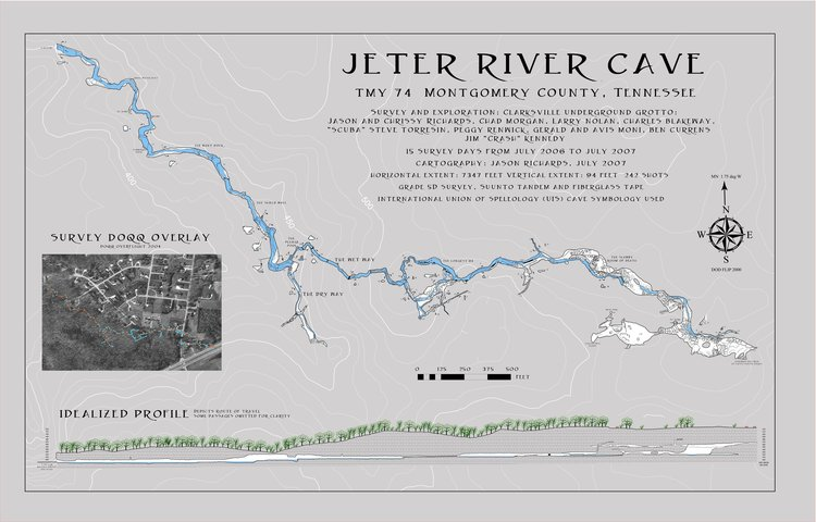 The final map which was released to the landowner, and to the  Tennessee Cave Survey.