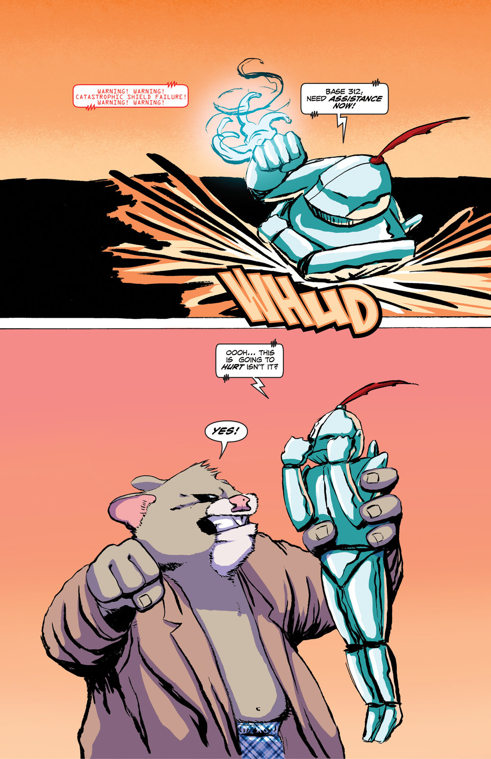 PAGE 8 Roosevelt lifts Jet Knight. JET KNIGHT: ooh this is going to hurt isn't it? ROOSEVELT: Yes.