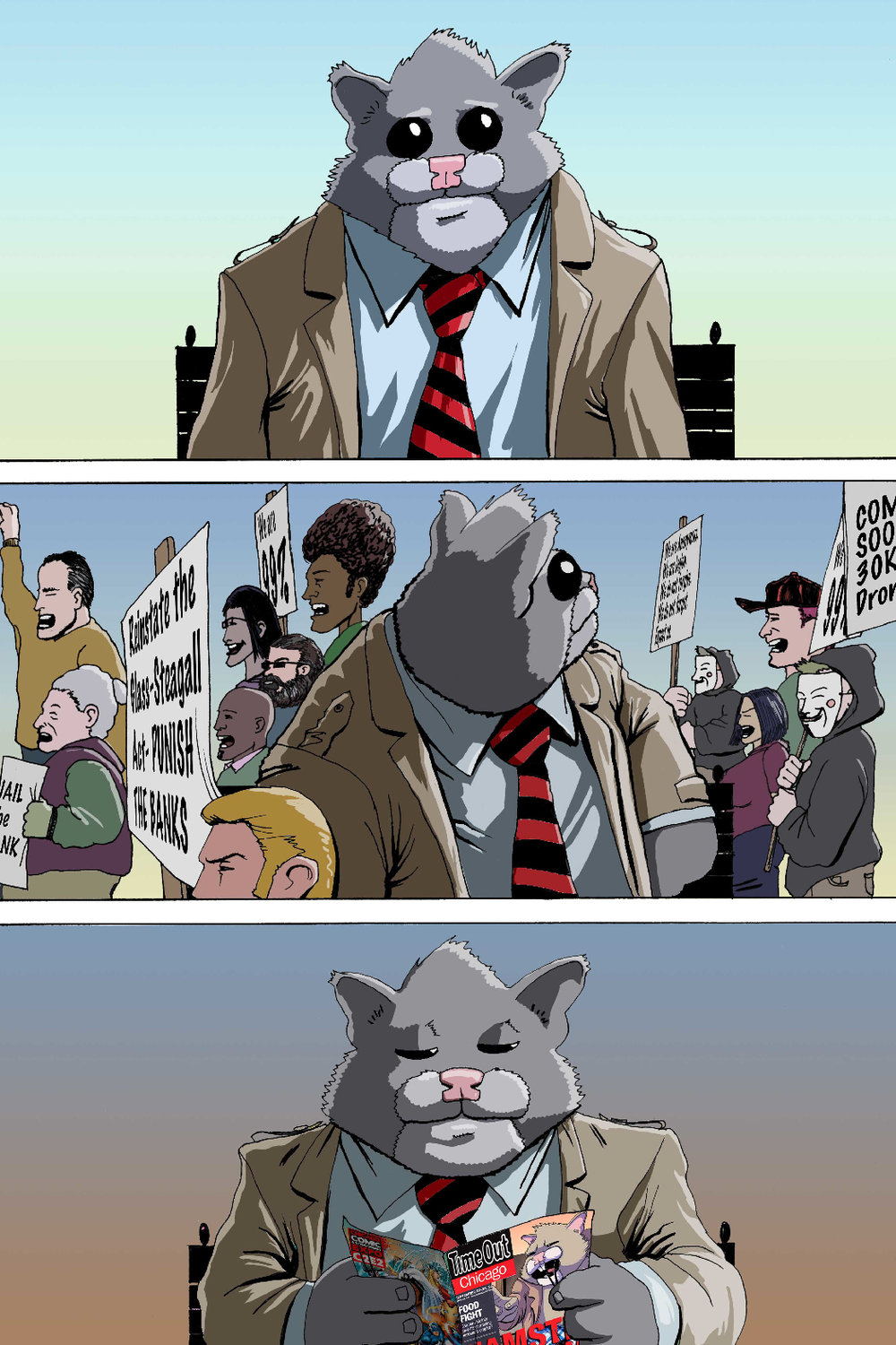 PAGE 43 Panel 1. Roosevelt looks at the camera bored.   Panel 2. Time has passed, Occupy Protesters stroll by Roosevelt.   Panel 3. Time has passed, Roosevelt sits reading a magazine.