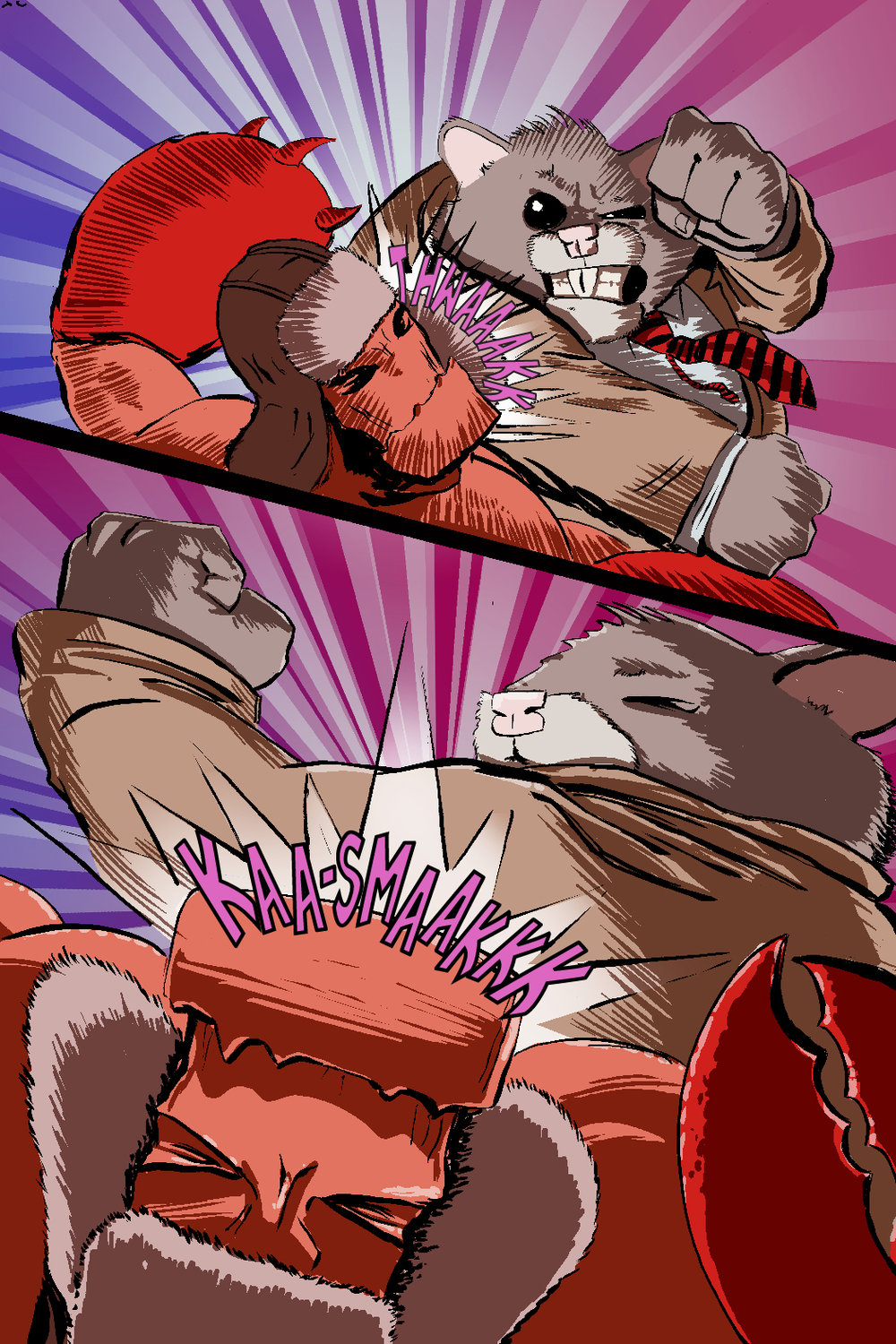 PAGE 52 Panel 1 and 2. Two big close ups of Roosevelt swinging first and missing LobStar and then in the second connecting to LobStar's jaw.