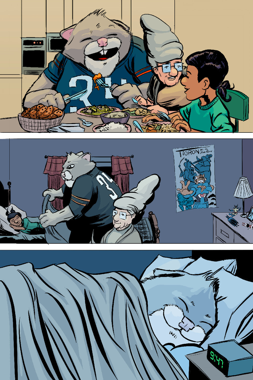 PAGE 81 Panel 1. Roosevelt, Gram Gram and Shayna eat Chinese Food at the dinner table.  Panel 2. Roosevelt tucks Shayna into bed.  Panel 3. Roosevelt smiles as he curls into bed