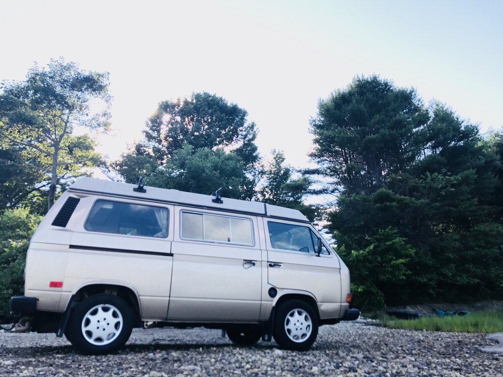 Goldie - 1987 WestfaliaThis van goes! It is outfitted with a Foreign Auto and Supply (FAS - Harpswell, ME) brand new Golf/Jetta engine.Goldie likes long drives on the coast and camp ground hopping around Maine.Let's Go