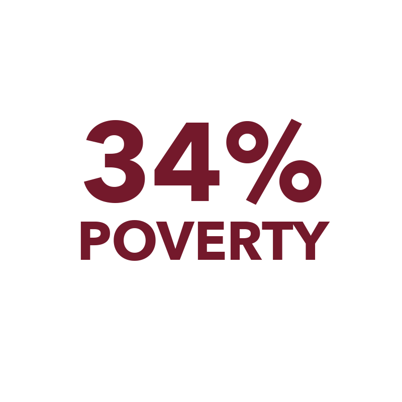 34% Rochester poverty rate, compared to national rate of 14.5%